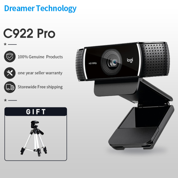 Logitech C922 PRO webcam, full HD 1080P camera, 30fps auto focus camera, built-in microphone, conference webcam with tripod