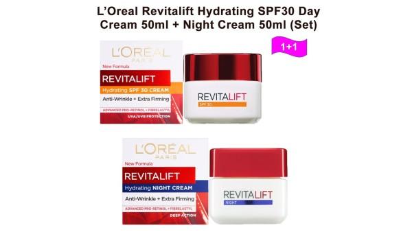Buy [COMBO SET] LOREAL REVITALIFT HYDRATING DAY CREAM 50ML + NIGHT CREAM 50ML Singapore