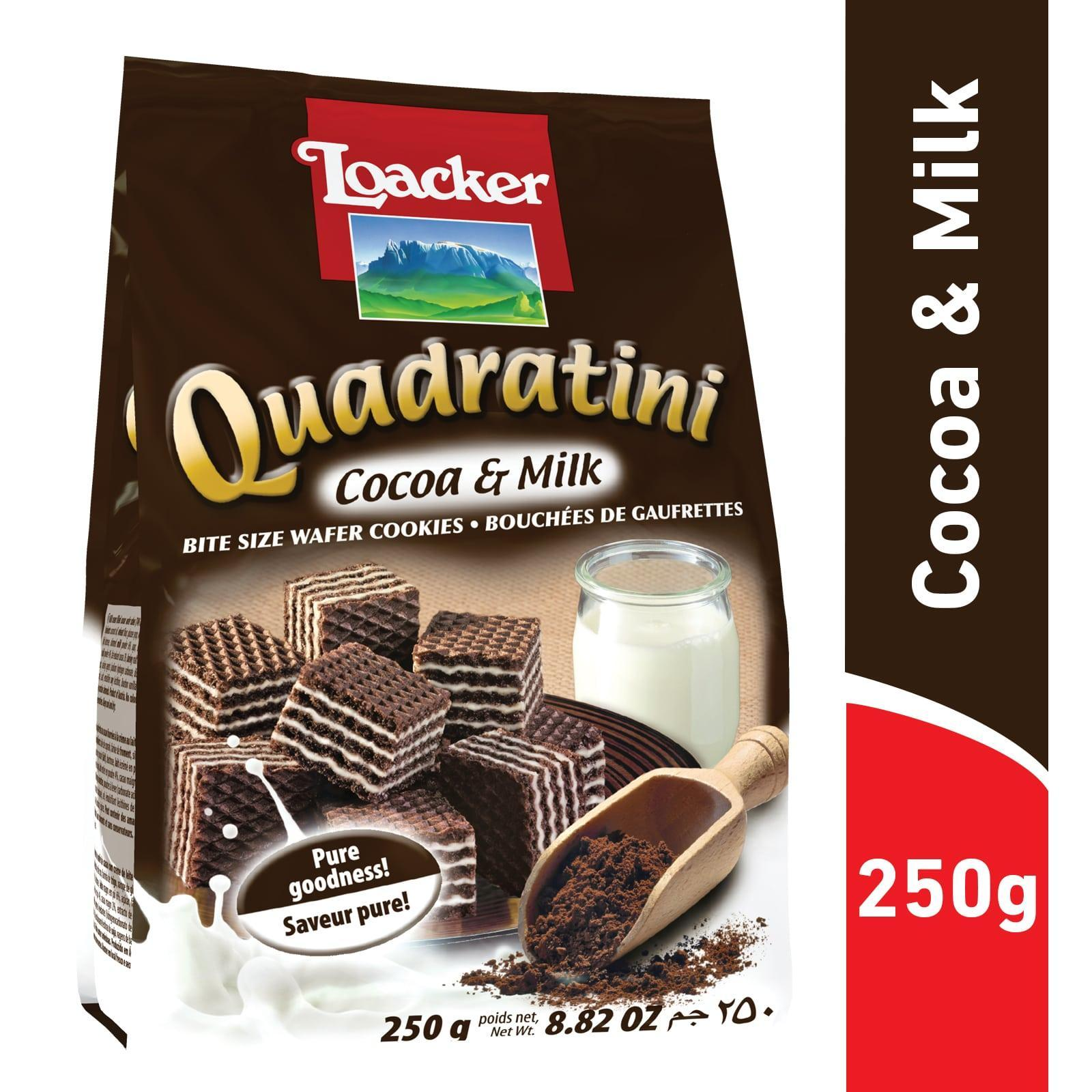 Loacker Quadratini Cocoa And Milk Wafer Cookies
