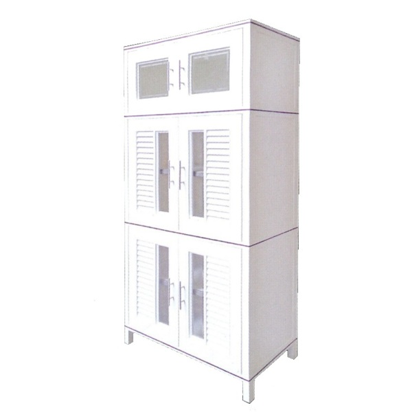KING CUPBOARD 180 Multi-Purpose Waterproof High Quality HIP Plastic Kitchen Stand Alone Storage Cabinet with Nano Coating (W88.5 x D45 x H179cm)