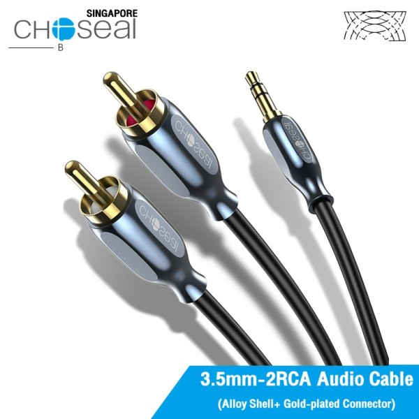 Choseal Choseal 3.5mm Stereo Audio to 2 RCA Cable Male to Male Aux Cord Slim Step Down Design 24k gold plated Jacks for Portable Speaker, Phone Singapore