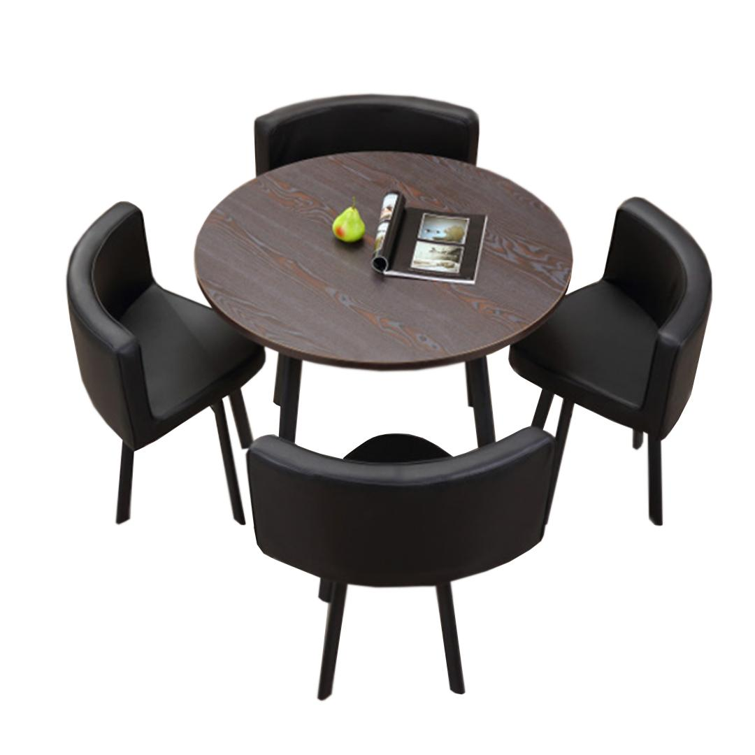 JIJI Kaiden Round Dining Table Set (1 Table W/ 4 Chairs) - Leather Seat / (Free Installation) Tables / Furniture (SG)