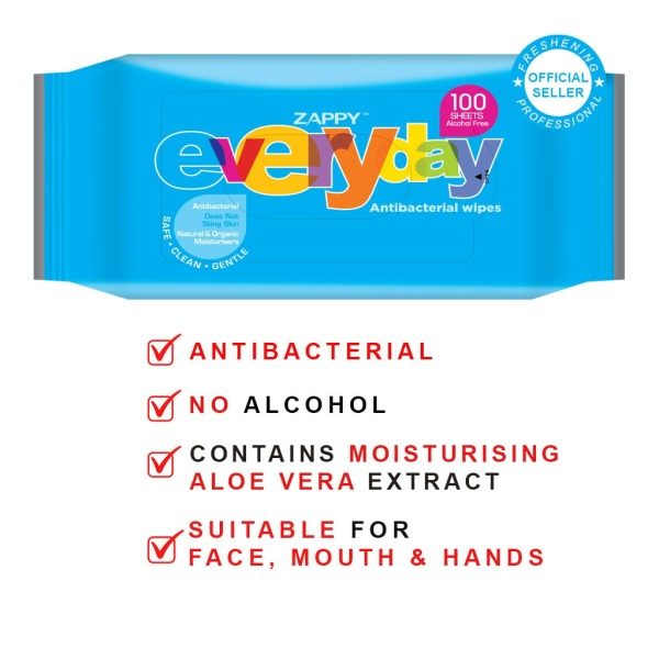 Buy Zappy Everyday Wipes 100 Sheets Resealable x 5 Packets Singapore