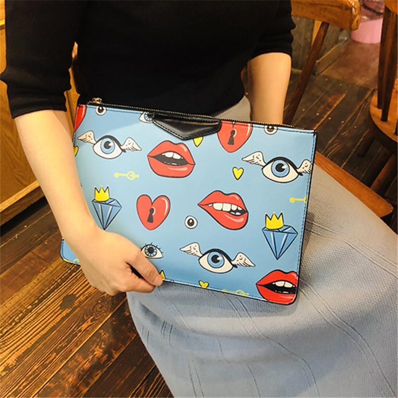 Clutch Female 2019 New Style Lips Wrist Wrap Large Capacity Envelope Fashion And Personality Handbag Korean Style Fashion Womens Bag