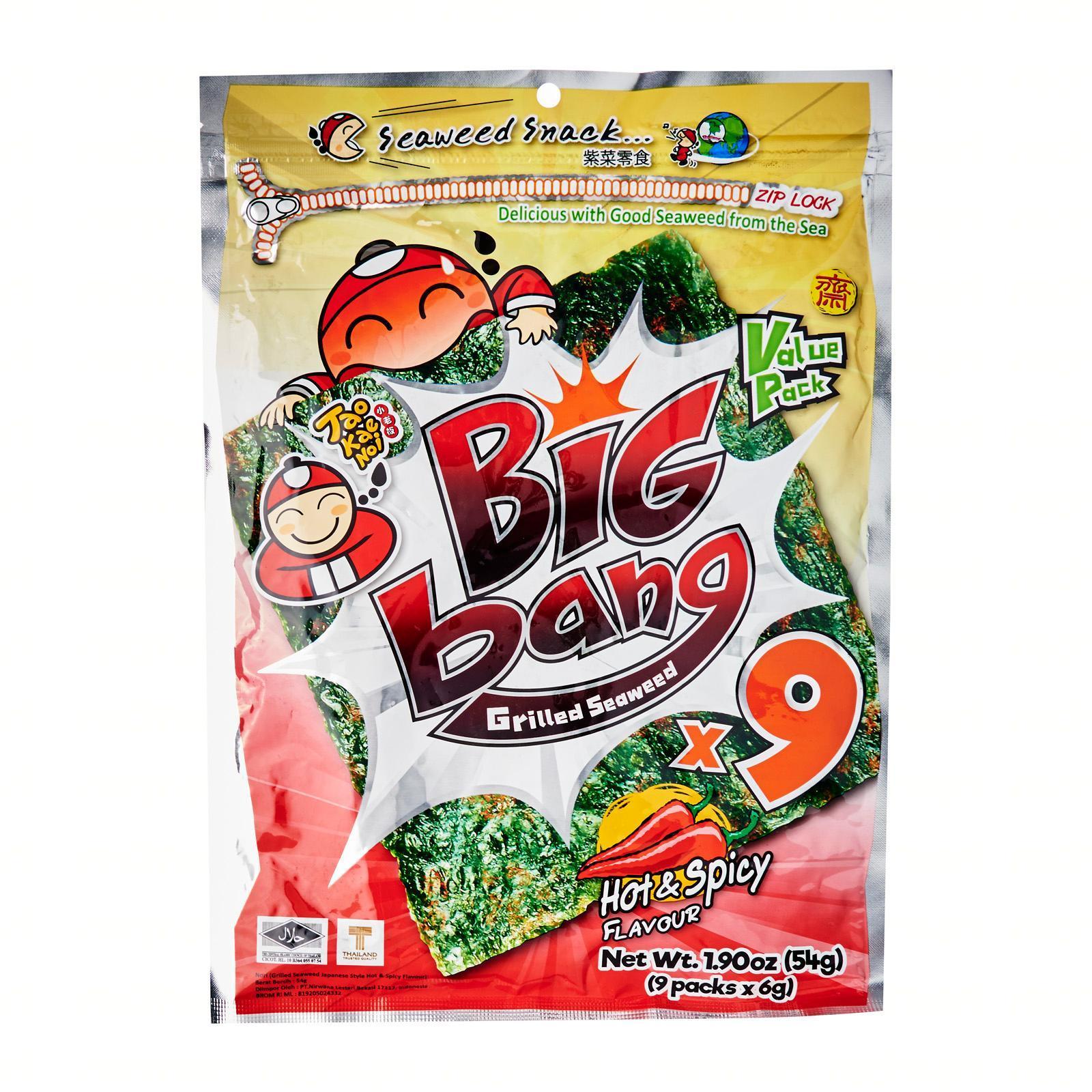Tao Kae Noi Big bang Grilled Seaweed - Hot & Spicy Flavour