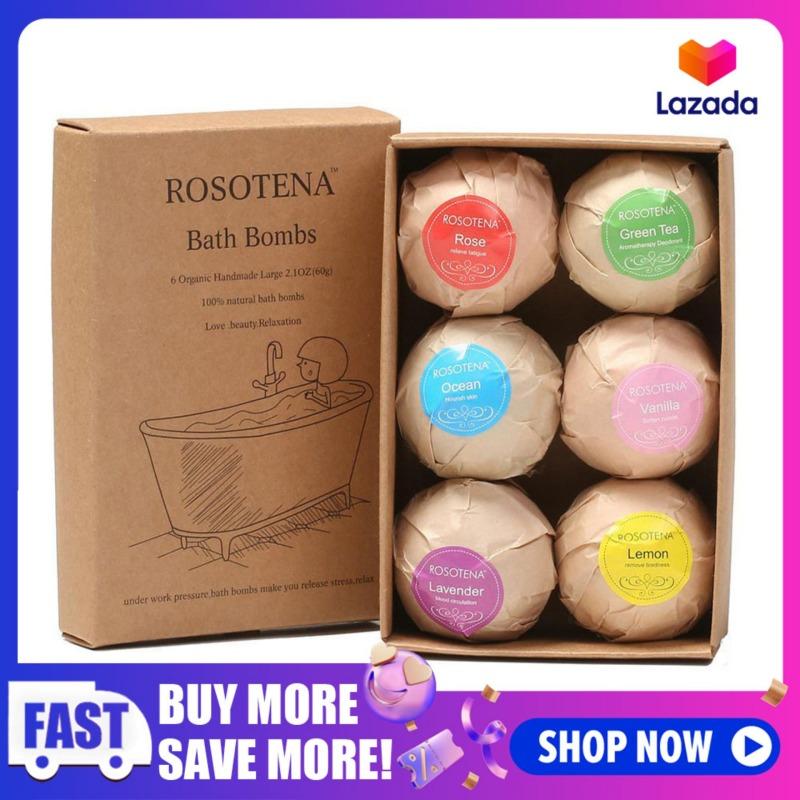 Buy LightSmile 6 Packs Organic Bath Bombs Gift Set, Handmade Spa Bombs Kit, Fizzy Spa to Moisturize Dry Skin, Large Relaxing Epsom Salt Bathbombs, Idea Gift for All Ages Men, Women, Wife, Girlfriend Singapore