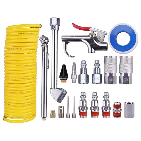 20 Pieces Air Compressor Accessory Kit, 1/4 Inch NPT Air Tool Kit with 1/4 Inch x 25Ft Coil Nylon Hose/Tire Gauge