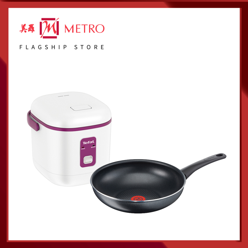 Tefal Mechanical Mini Rice cooker 2 Cups with Non-Stick Coating + Tefal Cookware Elegance Wokpan 28cm RK1721/C36719 Singapore