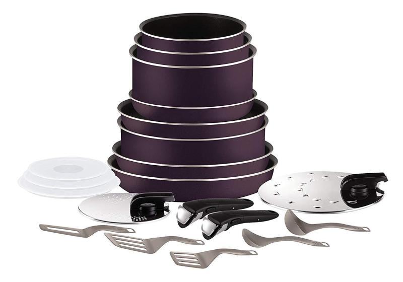 Tefal ingenio essential 20pc set cookware purple. (Preorder- will arrive in 7-15 working days) (SG Seller) Singapore
