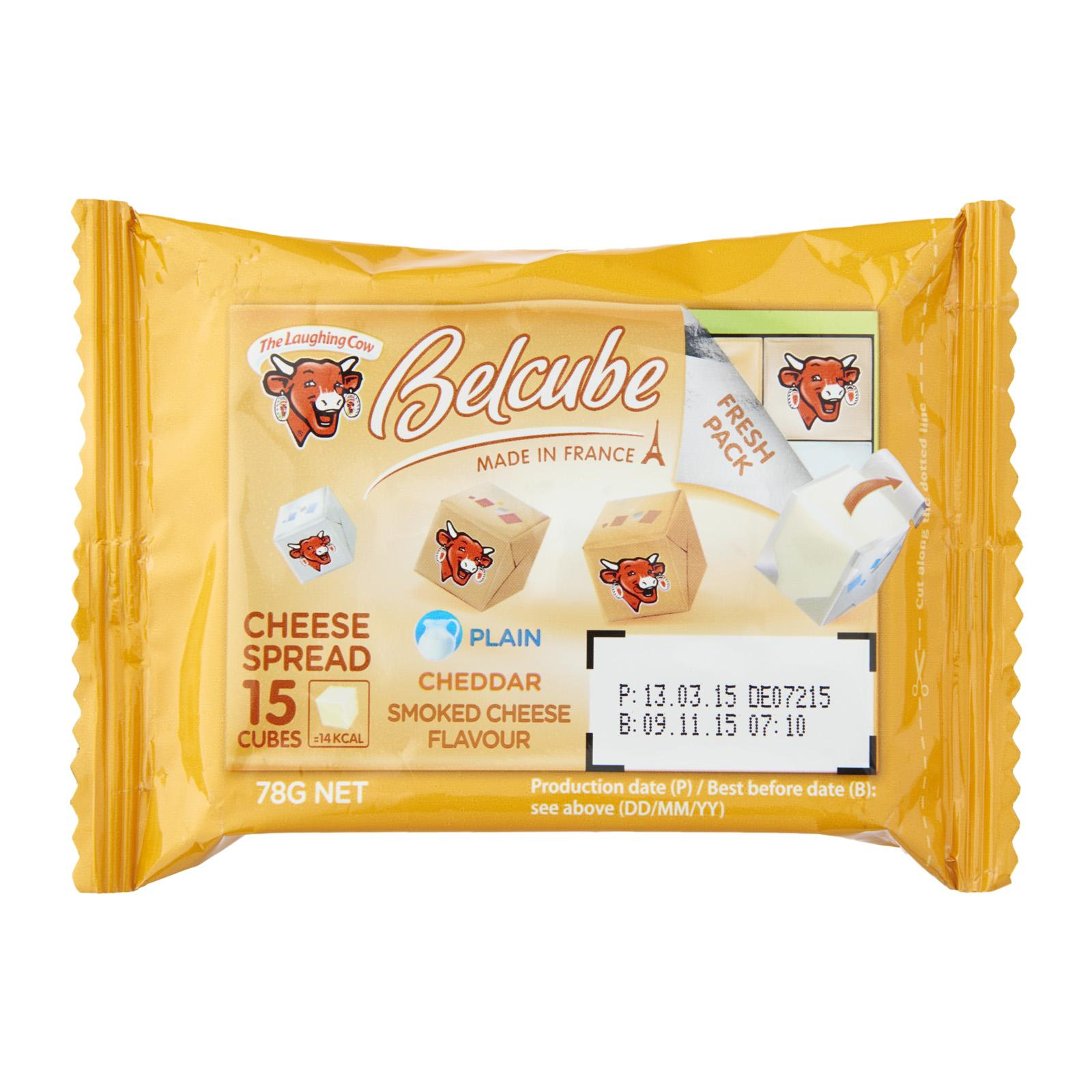 Belcube Yellow 15 cubes (Smoked Flavour Plain and Cheddar Cheese)