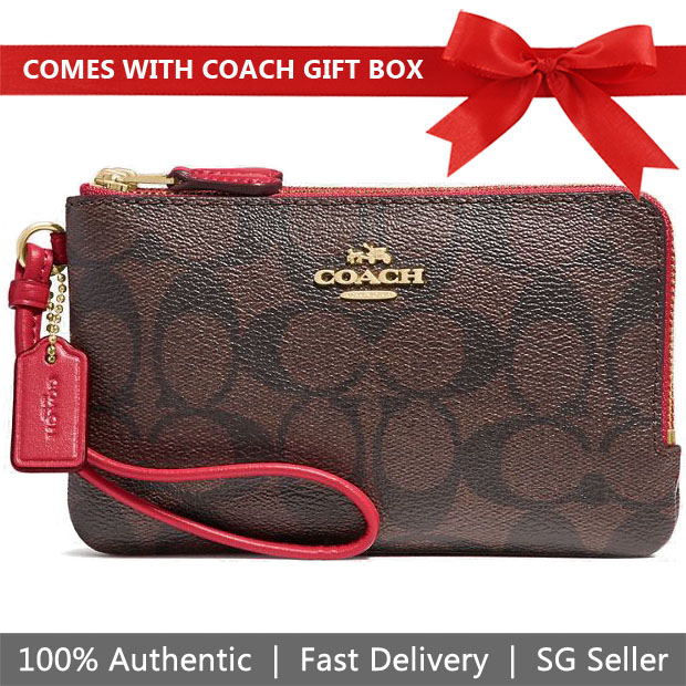 Coach Small Wristlet In Gift Box Double Corner Zip Wallet In Signature Coated Canvas Brown / True Red # F87591
