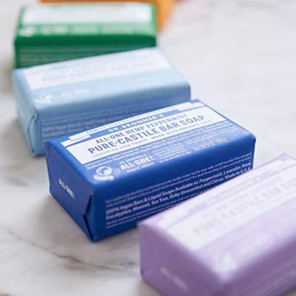 Buy Dr. Bronners Dr. Bronner's - Pure-Castile Bar Soap (Peppermint, 5 ounce, 2-Pack) - Made with Organic Oils, For Face, Body and Hair, Gentle and Moisturizing, Biodegradable, Vegan, Cruelty-free, Non-GMO Singapore