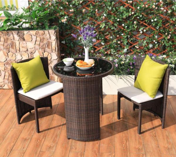 [Local Ready Stock] Rattan Weather Proof Outdoor / Indoor 3 Pcs Round Table & Chair Furniture Set [Balcony/Garden/Living Room]