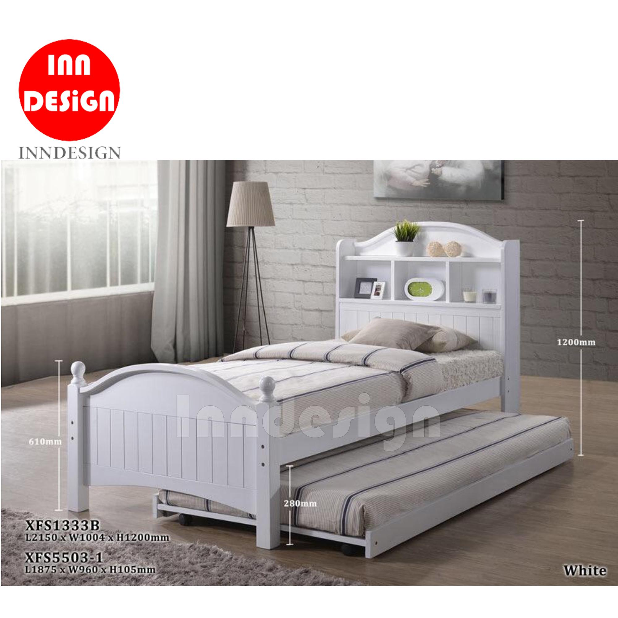 Myro Solid Single Wooded Bed Frame (Single) With / Without Pull-Out Bed