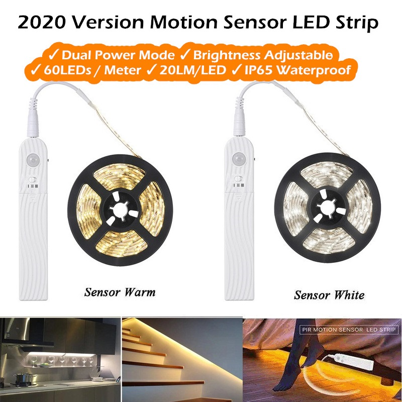2020 Version 1 - 3 meters / Dual Power / Brightness Adjustable / Motion Sensor LED Strip / Closet Bed Corridor Night Light