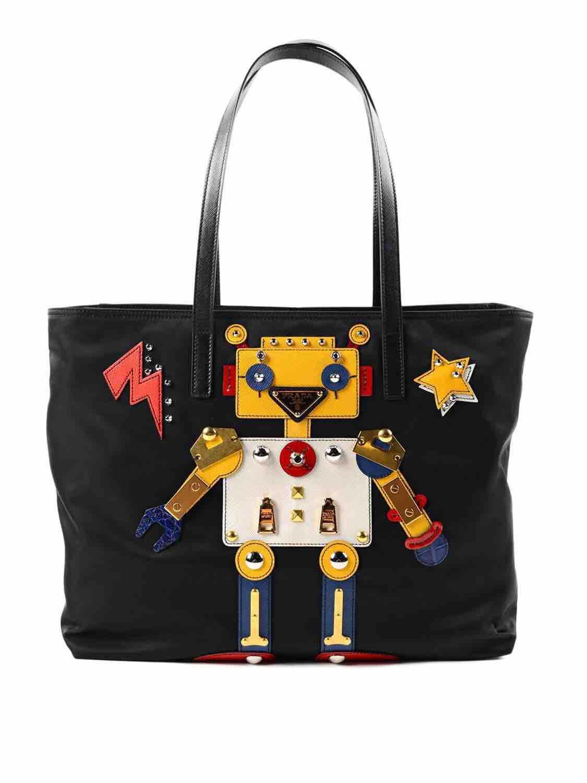 7de51eca9d4e Prada robot nylon shopping bag 1BG052prada