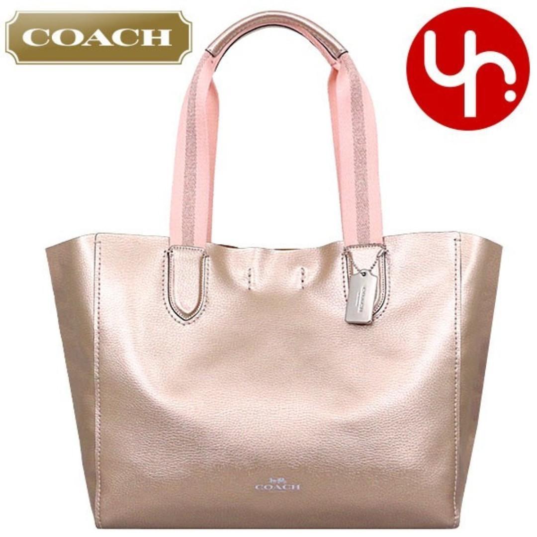 44206febb1 Coach F59388 Metallic Gunmetal Grey Pebble Leather Large Derby Tote Bag  (Navy/Cherry Red
