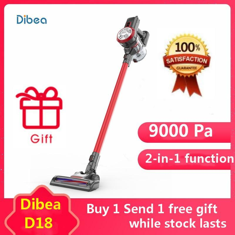 100% Original Dibea D18 2 In 1 Upright Cordless Vacuum Cleaner with LED light Lightweight  120W 9000 Pa Strong Suction Dust Collector (Yelow/Red) Singapore
