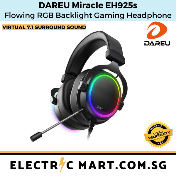 Dareu Miracle EH925s Flowing RGB Backlight FPS Gaming Headphone Headset / Virtual 7.1 surround sound, USB connectivity, 53mm driver, 1 year one-to-one exchange warranty