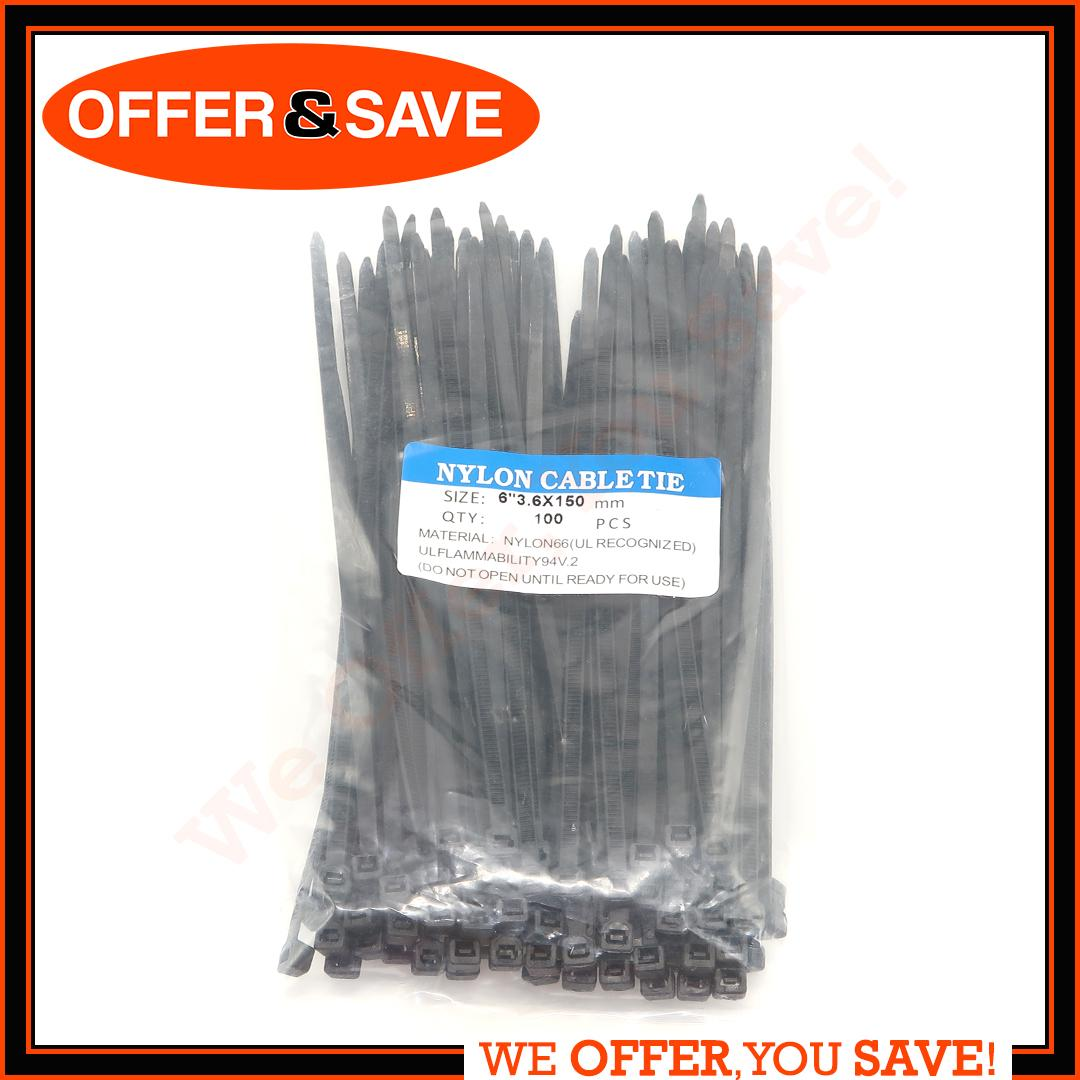 e05e991eb0b3 100pcs Nylon Cable Zip Ties Cable tie with Self-Locking UV Resistant Heavy  Duty 150mm