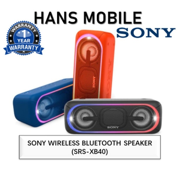 SONY SRS-XB40 EXTRA BASS PORTABLE BLUETOOTH SPEAKER - HANS MOBILE - BLACK/BLUE/RED - 1 YEAR LOCAL SONY OFFICIAL WARRANTY Singapore