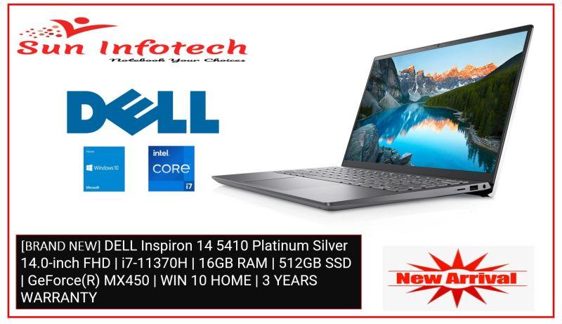 [BRAND NEW] DELL Inspiron 14 5410 Platinum Silver 14.0-inch FHD | i7-11370H | 16GB RAM | 512GB SSD | GeForce(R) MX450 | WIN 10 HOME | 3 YEARS WARRANTY