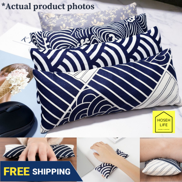 [SG Seller inStocks] Ergonomic comfortable breathable re-washable cotton Mouse Wrist Rest with Organic Dried Tea Leaf Leaves Tie Guan Yin insert supports wrist prolonged computer use   artistic design Tenugui Japanese Waves; Keyboard washable wrist Rest