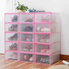 Price 4Pcs Shoes Wrapped Plastic Storage Box Drawer Type Transparent Plastic Shoes Box Drawer Storage F1002 01 Pink M Joopin New