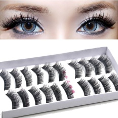 10 Pairs Adhesive False Eyelashes Extension Thick Long Eye Lash Party Club 9 - Intl By Mingrui.
