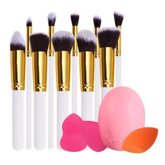 10Pcs Makeup Brush Spong Puff +Canvas Bag(White+Gold)