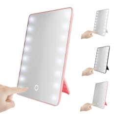 Best Rated 16 Leds Lighted Touch Screen Cosmetic Vanity Makeup Mirror Tabletop Bathroom White Intl