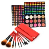Cheapest 183 Colors Eye Shadow Blush Contour Palette With 9Pcs Makeup Brush Set Red