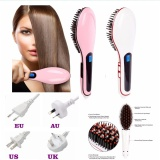 Buying 2017 New Electric Straightening Irons Magic Hair Straightener Lcd Display Brush Smoothing Hair Styling Tools Professional Comb Pink Intl
