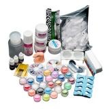 Top Rated 22Acrylic Nail Art Tips Powder Liquid Brush Glitter Clipper Primer File Set Kit Intl