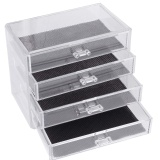 Buying 4 Layers Clear Cosmetic Drawers Jewelry Makeup Storage Display Organizer Box Make Up Brush Eyeshadow Nail Varnish Polish Case Container Stand Holder Rack Intl