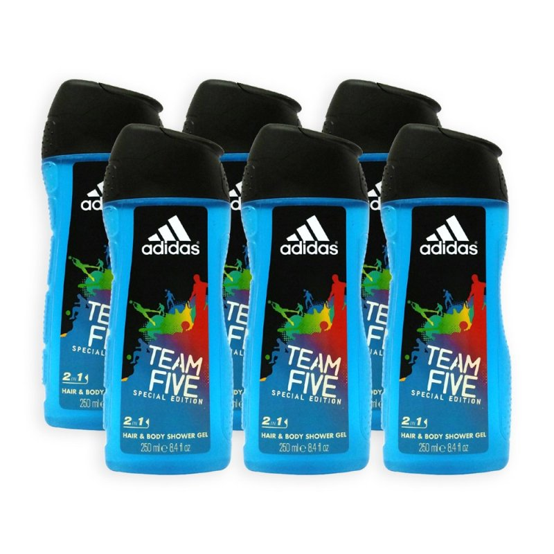 Buy (Pack of 6) ADIDAS Shower Gel - Team Five Special Edition 3 in 1 Hair and  Body Shower Gel 250ml - 1509 Singapore