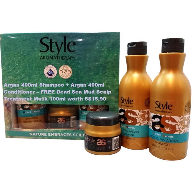 Buy Argan 400ml Shampoo + Argan 400ml Conditioner – FREE Dead Sea Mud Scalp Treatment Mask 100ml worth S$15.90 Singapore
