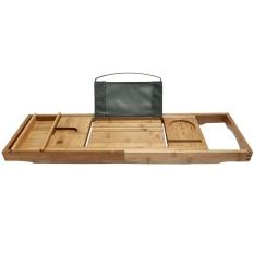 Bamboo Bathtub Caddy Tray For Mug Cellphone Tablet Pc Beige Wood Intl Deal