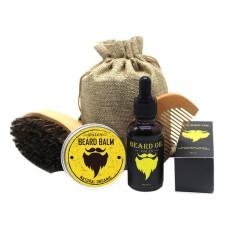 Cheaper Pawaca Beard Care Kit Beard Trimming Kit Beard Grooming Kit For Men Boar Bristle Brush Wooden Comb Unscented Beard Oil 30G Beard Balm Butter Wax 30Ml