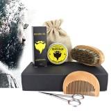 Cheap Beard Care Kit Beard Trimming Kit Beard Grooming Kit For Men Boar Bristle Brush Wooden Comb Unscented Beard Oil 30G Beard Balm Butter Wax 30Ml Gift Set