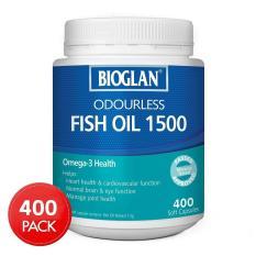 Bioglan Odourless Fish Oil 1500Mg 400 Capsules Free Shipping