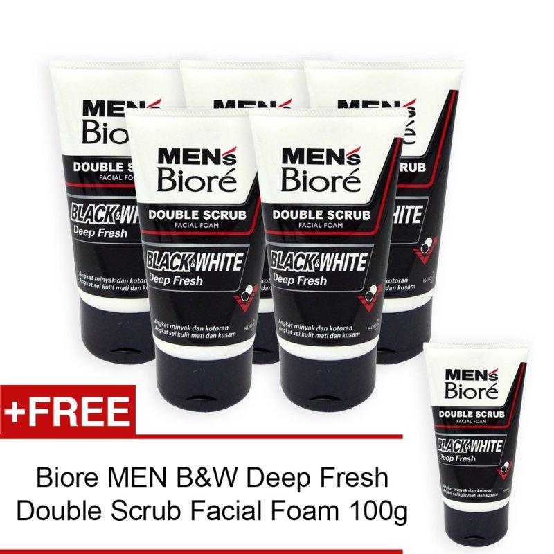 Buy (Pack of 6) Biore MEN Black and White Deep Fresh Double Scrub Facial Foam 100g - 3537 Singapore