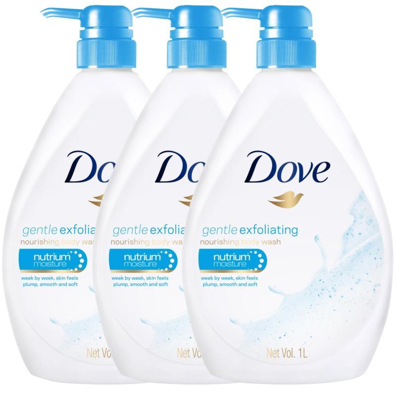 Buy [BUNDLE DEAL] 3 x Dove Bodywash Gentle Exfoliating Nutrium Moisture (1000ml) Singapore