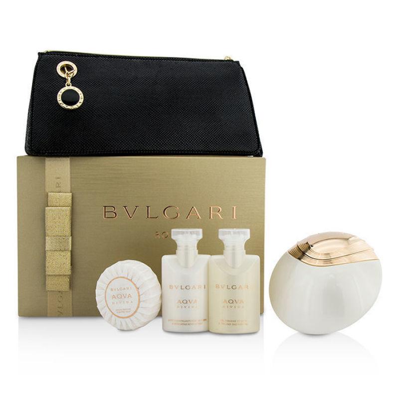 Buy Bvlgari Aqva Divina Coffret: Eau De Toilette Spray 65ml/2.2oz + Body Lotion 40ml/1.35oz + Shower Gel 40ml/1.35oz + Soap 50g/1.76oz + Pouch 4pcs+1pouch   (Intl) Singapore