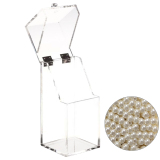 Price Clear Acrylic Flip Cap Cosmetic Makeup Brush Storage Case Box Organizer Holder With 1300 Pcs Beige Imitation Pearl Beads Thinch Online