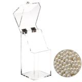 Sale Clear Acrylic Flip Cap Cosmetic Makeup Brush Storage Case Box Organizer Holder With 1300 Pcs Beige Imitation Pearl Beads Hong Kong Sar China Cheap