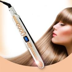 How To Get Curly Straight 2 In 1 Ceramic Nano Titanium Plate Hair Straightening Flat Iron White Intl