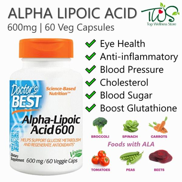 Buy Doctors Best, Alpha Lipoic Acid 600mg, 60Vcaps Singapore