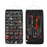 Price Double Sided Hanging Jewellery Storage 40 Pockets Over Door Wall Wardrobe Closet Tidy Earrings Necklace Bracelet Jewelry Display Organizer Rack Space Saving Travel Household Holder Storage Bag Black Online China