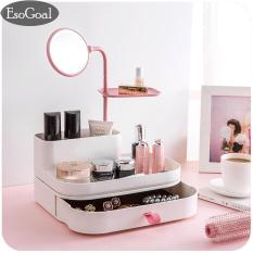 The Cheapest Esogoal Newest Jewelry Cosmetic Storage Box Diy Dressing Box Desktop Organizer Storage Box With Mirror Pink Intl Online